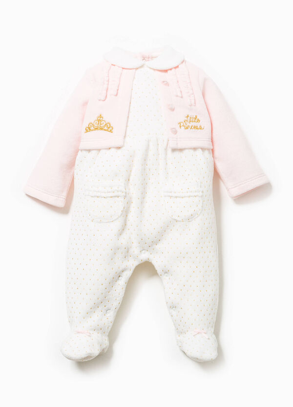 Faux layer onesie with embroidery and polka dots | OVS