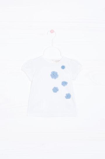 T-shirt stretch con fiori applicati