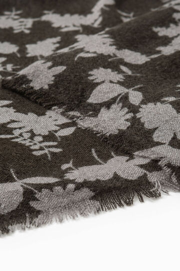 Scarf with all-over floral print, Dark Grey, hi-res