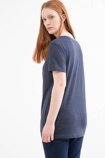 Curvy T-shirt with printed lettering, Navy Blue, hi-res