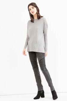 Viscose cotton blend pullover with splits, Grey, hi-res