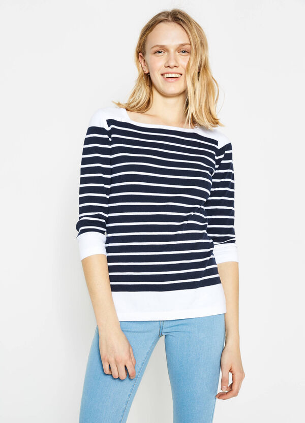 Stretch cotton pullover with striped pattern | OVS