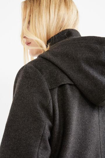 Curvy jacket with hood, Slate Grey, hi-res