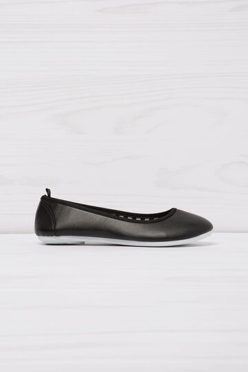 Round toe ballerina pumps, Black, hi-res