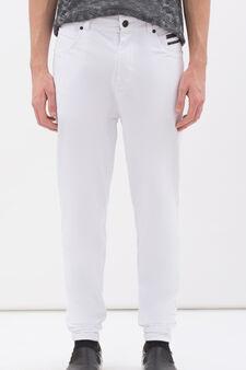 Pantaloni taglio denim felpa stretch, Bianco, hi-res