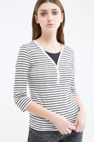 Striped T-shirt in 100% cotton, White/Black, hi-res