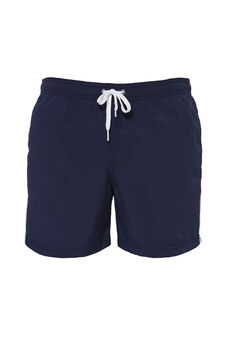 Solid colour swim boxer shorts with drawstring, Navy Blue, hi-res