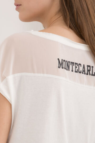 Cotton T-shirt with semi-sheer yoke, Milky White, hi-res