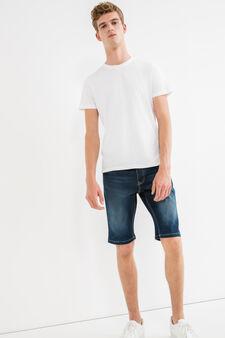 Slim-fit used stretch denim Bermuda shorts, Dark Wash, hi-res