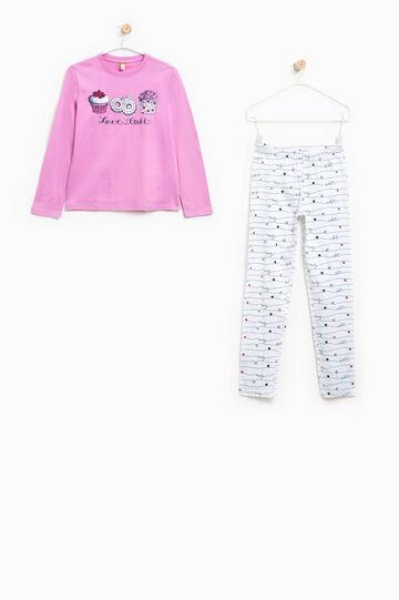 100% Biocotton pyjamas, White/Purple, hi-res