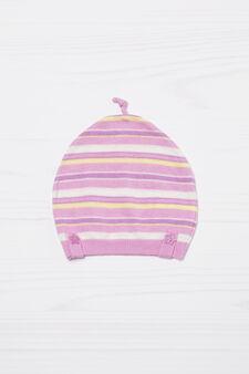 Striped cotton beanie cap, Lilac, hi-res