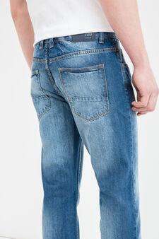 Worn-effect, slim fit jeans with zip, Denim, hi-res
