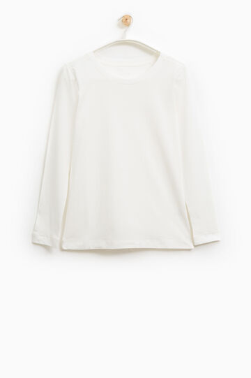 T-shirt tinta unita cotone Smart Basic, Bianco, hi-res