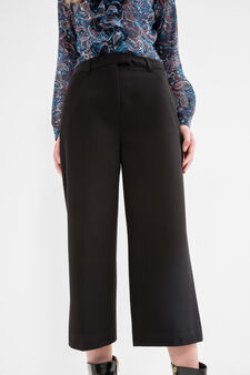 Solid colour stretch crop trousers, Graphite Grey, hi-res