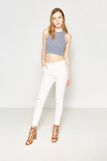 Striped crop top in cotton