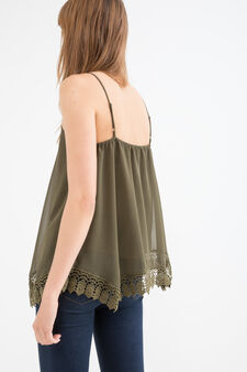 Solid colour top with openwork insert, Green, hi-res