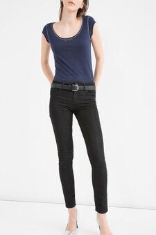T-shirt puro cotone taglio al vivo, Blu navy, hi-res