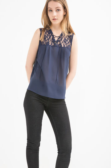 Solid colour top with lace