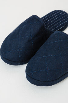 Slippers with contrasting colour stitching, Navy Blue, hi-res