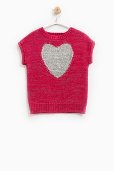 Short-sleeved pullover with embroidery on the chest, Fuchsia, hi-res