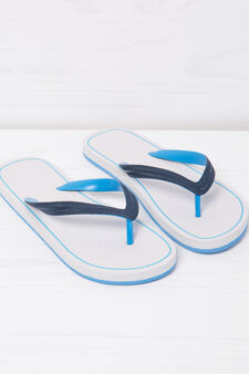 Thong sandals with contrasting colour band., White, hi-res