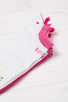 Set due paia di calze corte stretch, Rosa fuxia, hi-res