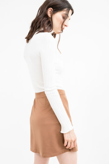 Ribbed pullover with high neck, Cream White, hi-res
