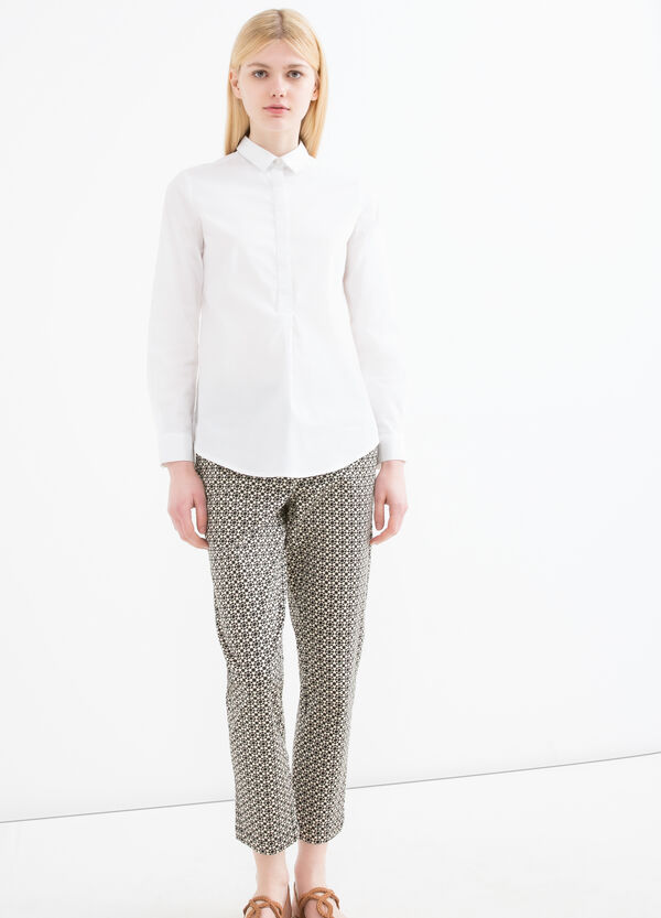 Printed stretch cotton trousers | OVS