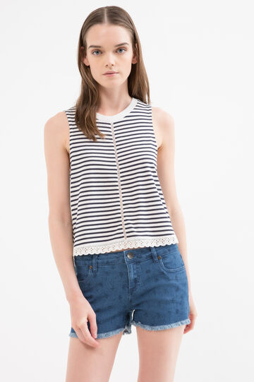 Top cotone e modal a righe, Blu navy, hi-res