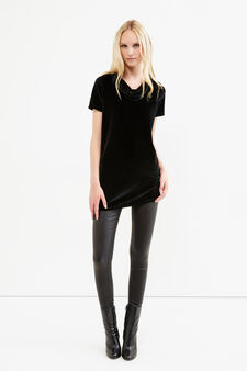 Long T-shirt in stretch velvet, Black, hi-res