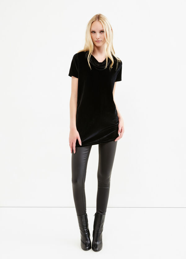 Long T-shirt in stretch velvet | OVS