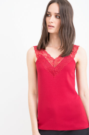 100% cotton top with lace, Red, hi-res
