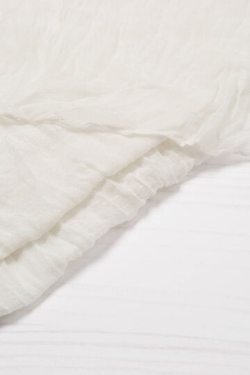 Solid colour creased-effect scarf, Cream White, hi-res