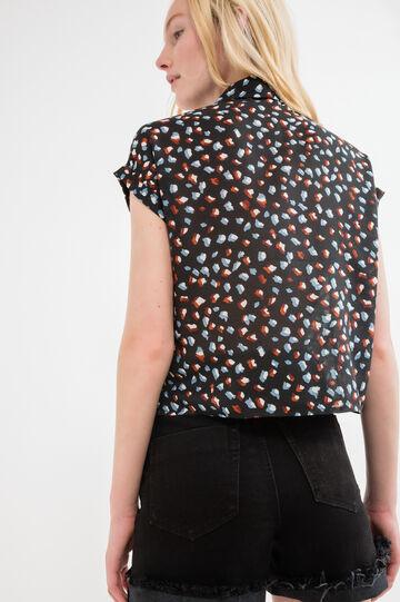 Short-sleeved shirt with print., Black, hi-res