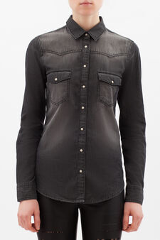 Denim shirt with mother-of-pearl buttons, Dark Grey, hi-res