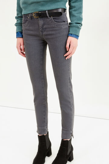 Slim-fit jeans with ankle splits, Grey, hi-res