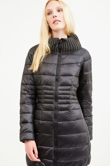 Down jacket with high ribbed neck, Black, hi-res