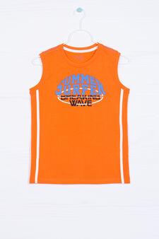 100% cotton vest top with lettering print, Orange, hi-res