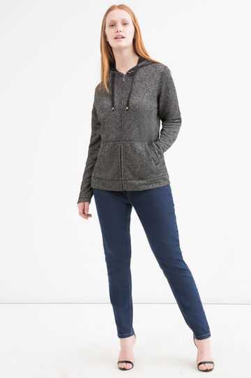 Curvy cotton blend hoodie, Black, hi-res