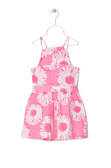 100% cotton dress with flower print, White/Pink, hi-res