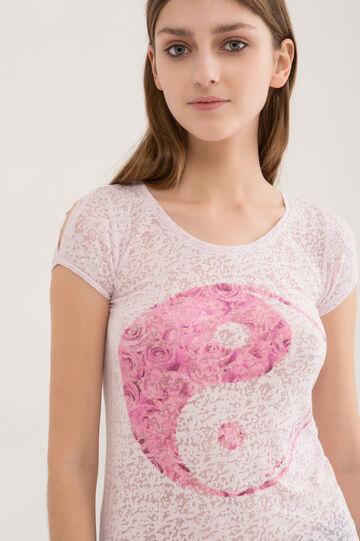 T-shirt misto cotone semi trasparente, Viola lilla, hi-res