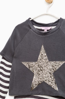 100% cotton sweatshirt with stripes and sequins, Slate Grey, hi-res