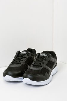 Solid colour sneakers with laces, Black, hi-res