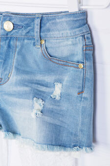 Frayed-effect stretch denim shorts., Denim, hi-res