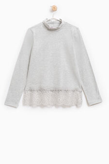 Stretch cotton T-shirt with lace, Grey Marl, hi-res