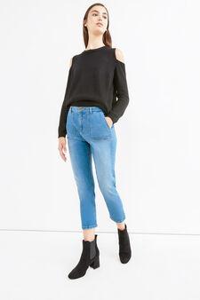 Worn-effect cropped boyfriend jeans, Medium Wash, hi-res