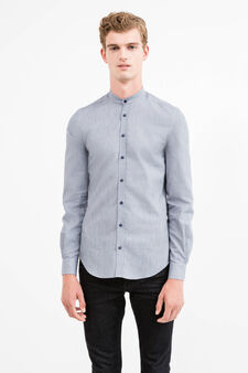 Custom-fit patterned formal shirt, Dark Blue, hi-res