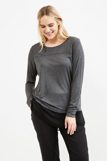 Curvy faux layered 100% viscose T-shirt, Grey Marl, hi-res