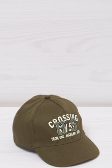Baseball cap with printed lettering, Army Green, hi-res