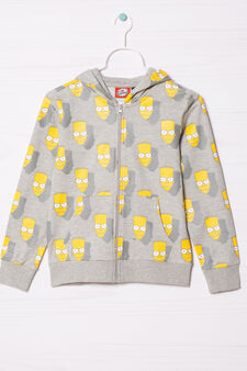 Cotton hoodie with The Simpsons print, Grey Marl, hi-res
